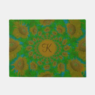 Monogram Golden Sunflowers Green And Blue Pop Art Doormat