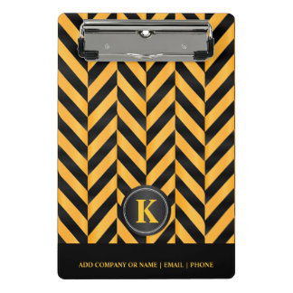 Monogram Golden Yellow & Black Herringbone Pattern Mini Clipboard