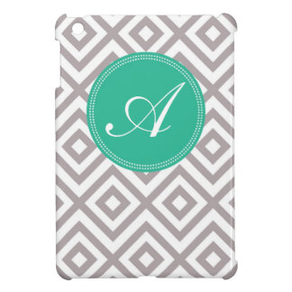 Monogram Gray and Blue Chevron Pattern Case For The iPad Mini
