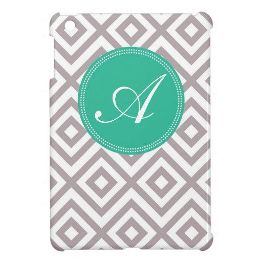 Monogram Gray and Blue Chevron Pattern iPad Mini Case