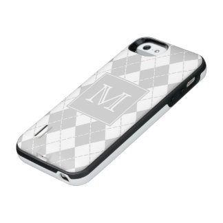 Monogram Gray and White Argyle iPhone SE/5/5s Battery Case
