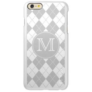 Monogram Gray and White Argyle Incipio Feather® Shine iPhone 6 Plus Case
