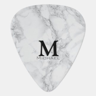 Monogram Gray and White Marble Design Guitar Pick