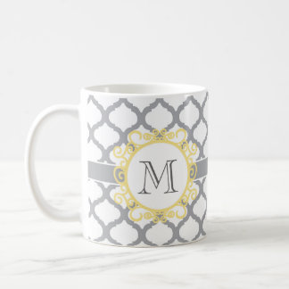 Monogram | Gray and White Moroccan Coffee Mug