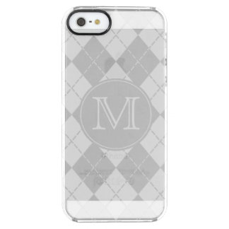 Monogram Gray Argyle Clear iPhone SE/5/5s Case