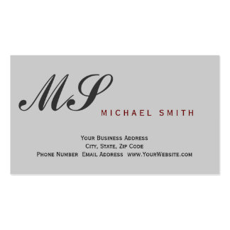 Monogram Gray Attorney at Law Business Card Pack Of Standard Business Cards