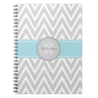 Monogram Gray Chevron Spiral Notebook