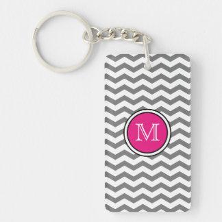 Monogram Gray Chevron Zigzag Acrylic Keychain