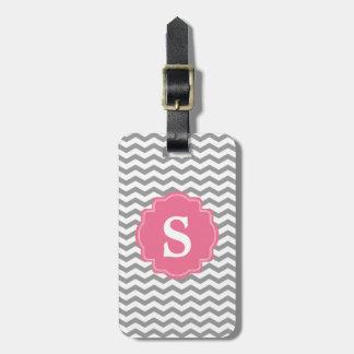 Monogram Gray Chevron Zigzag & Pink Luggage Tag