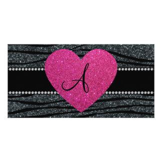 Monogram Gray glitter zebra stripes pink heart Photo Cards