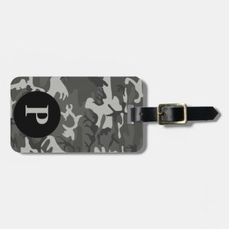 Monogram Gray Military Camo Camouflage Circle Luggage Tag