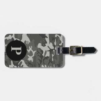 Monogram Gray Military Camo Camouflage Circle Luggage Tag