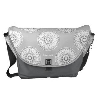 Monogram Gray Modern Medallion Pattern Messenger Bags