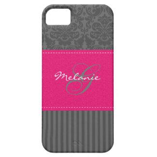 Monogram Gray Pink Damask Stripe iPhone 5 Case