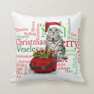 Monogram Gray Tabby Christmas Cat Cushion
