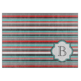 Monogram Gray Terquoise And Red Cutting Board