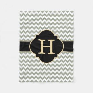 Monogram Gray White and Black Chevron Fleece Blanket
