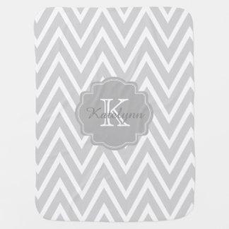 Monogram Gray Zigzag Custom Baby Blanket