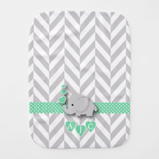 Monogram Green And White Chevron Baby Elephant Burp Cloth