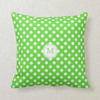 Monogram: Green  And White Polka-dot Pillow