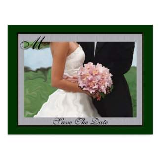 Monogram Green Artistic  Save The Date Postcard