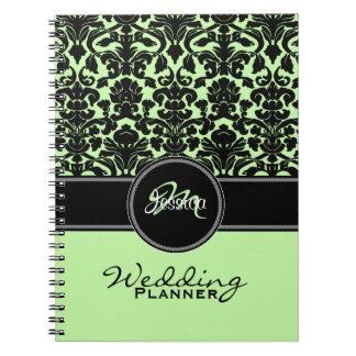 Monogram Green Black White Damask Wedding Planner Note Book