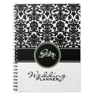 Monogram Green Black White Damask Wedding Planner Spiral Notebook