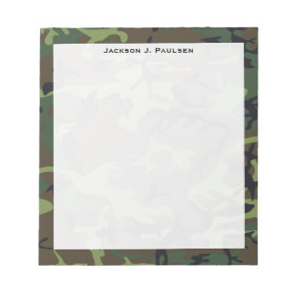 Monogram Green, Brown, Black Camouflage Notepad