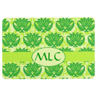 Monogram Green Damask Graphic Stylish Floor Mat
