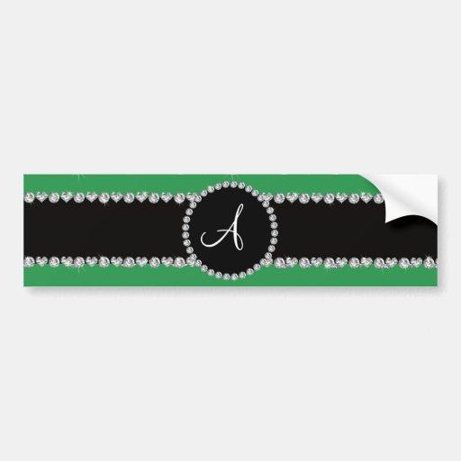 Monogram green diamond hearts stripes bumper stickers