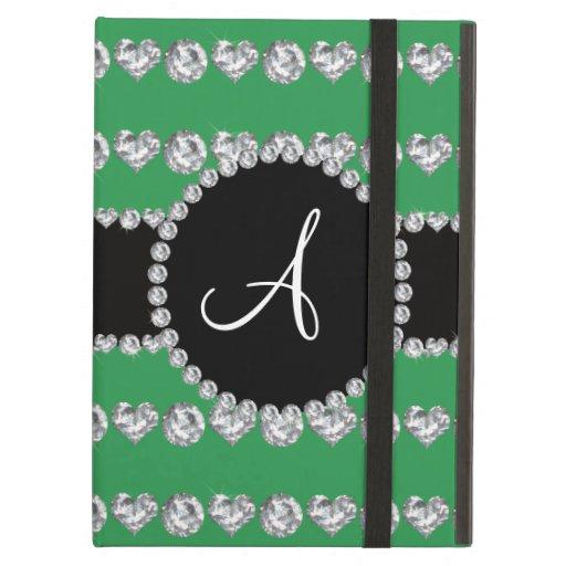 Monogram green diamond hearts stripes iPad air cases