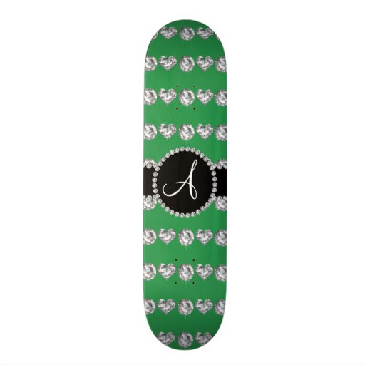 Monogram green diamond hearts stripes skate board