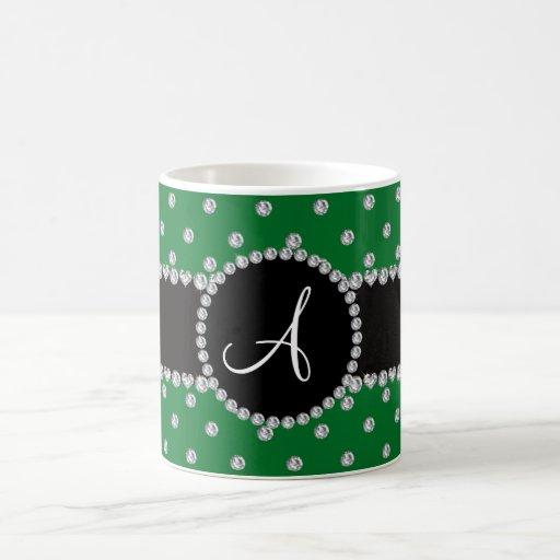 Monogram green diamonds polka dots mug