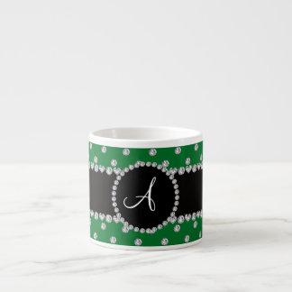Monogram green diamonds polka dots 6 oz ceramic espresso cup