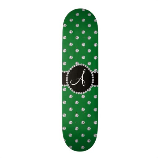 Monogram green diamonds polka dots skate board