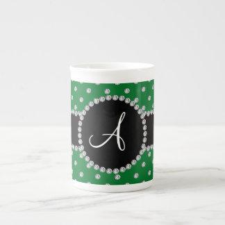 Monogram green diamonds polka dots bone china mugs