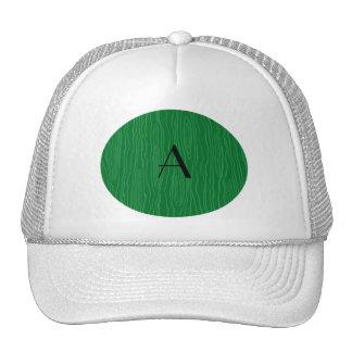 Monogram green faux bois trucker hat