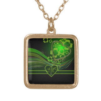 Monogram Green Floral Gold Heart Wave Flourish Square Pendant Necklace