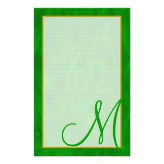 Monogram Green Forest Fine Lined Stationery