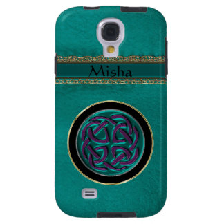 Monogram Green Leather with Celtic Knot Galaxy S4 Case