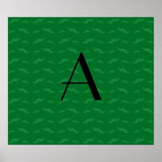 Monogram green mustache pattern poster