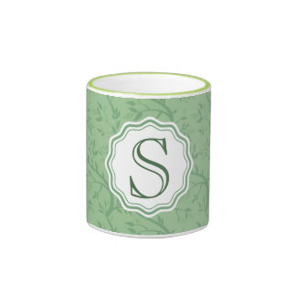 Monogram Green on Green Branches Customizable Mugs