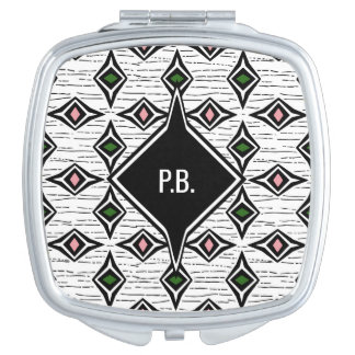 Monogram green pink funky diamond shapes compact mirror