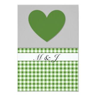 Monogram Green Plaid Heart Wedding RSVP Card 9 Cm X 13 Cm Invitation Card