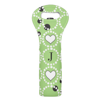 Monogram Green Polka Dots and Hearts Wine Bag