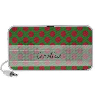Monogram Green Red Christmas Polka Dot Pattern Speaker System