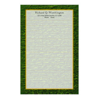 Monogram Green Steel Brick Fine Lined Stationery