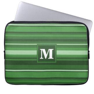 Monogram green stripes computer sleeves