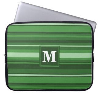 Monogram green stripes laptop computer sleeves