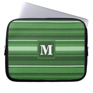 Monogram green stripes laptop sleeves